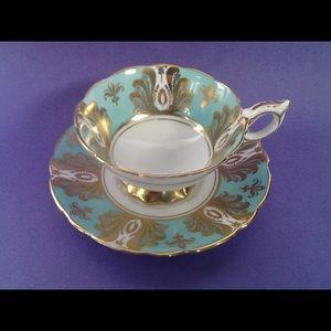 Royal Stafford Gold Design Green Teacup Duo